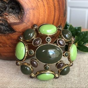Vintage Green Domed Cabochon Brooch